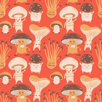 Padrão de vetor sem costura com cogumelos fofos ilustração de personagem engraçada para tecido têxtil