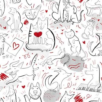 Padrão de vetor sem costura com contorno de gatos e cachorros em diferentes poses e emoções