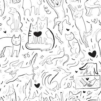 Padrão de vetor sem costura com contorno de gatos e cães em diferentes poses e emoções, melhores amigos