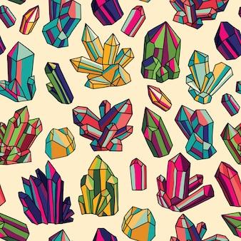 Padrão de vetor sem costura com cristais brilhantes. ilustração colorida