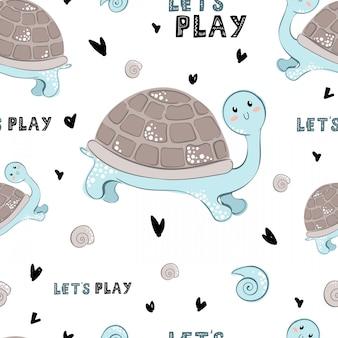 Padrão de vetor sem costura com desenhos animados de tartaruga e letras