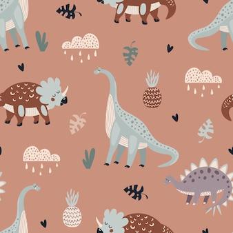 Padrão de vetor sem costura com dinossauros animais fofos em um fundo bege com textura animálica