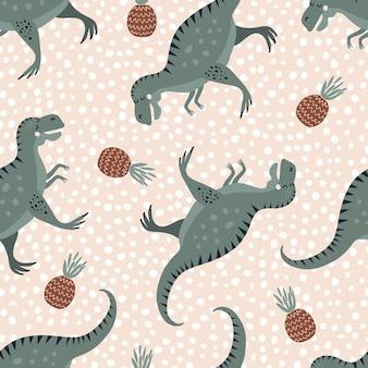 Padrão de vetor sem costura com dinossauros verdes fofos e abacaxis. textura animal criativa