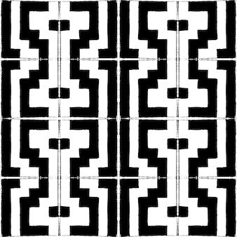 Padrão de vetor sem costura com estilo de lápis em azulejos quadrados preto e brancos.