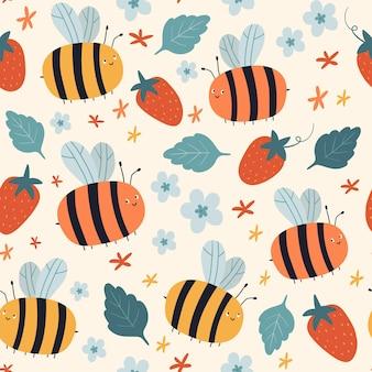 Padrão de vetor sem costura com flores de morangos de abelhas em um fundo bege