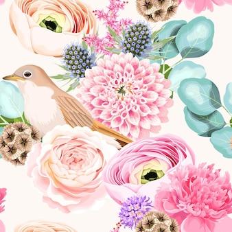 Padrão de vetor sem costura com flores rosa e brancas com pássaro