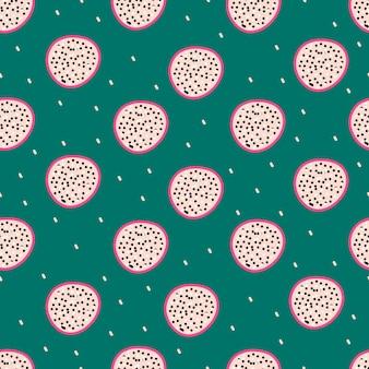 Padrão de vetor sem costura com fruta do dragão pitaya sobre um fundo verde. conceito moderno