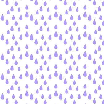 Padrão de vetor sem costura com fundo roxo de gotas de chuva