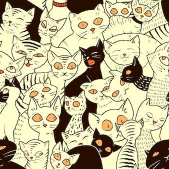 Padrão de vetor sem costura com gatos bonitos para papéis de parede