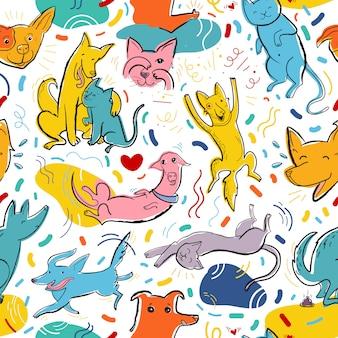 Padrão de vetor sem costura com gatos e cachorros de cores fofas em diferentes poses e emoções, melhores amigos
