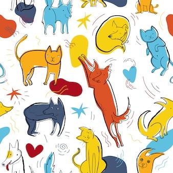 Padrão de vetor sem costura com gatos e cachorros de cores fofas em diferentes poses e emoções