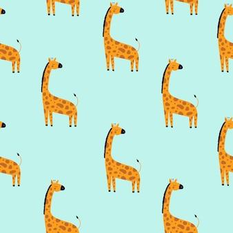 Padrão de vetor sem costura com girafa em fundo azul personagem de desenho animado animal africano