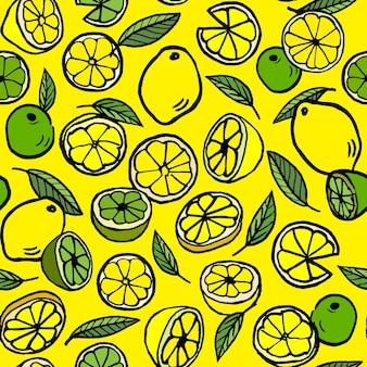 Padrão de vetor sem costura com limão e lima.