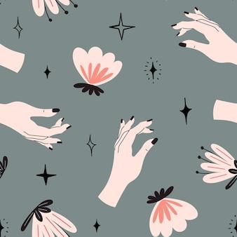 Padrão de vetor sem costura com mãos, estrelas e flores mágicas