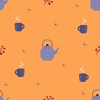 Padrão de vetor sem costura de bule de bagas de outono com xícaras plano de fundo para um pôster ou papel de parede
