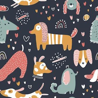 Padrão de vetor sem costura de cães animais fofos em estilo simples e ingênuo escandinavo moderno de desenho animado