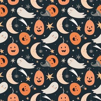 Padrão de vetor sem costura de halloween com personagens fofos de halloween e símbolos - fantasma, abóbora, lua, estrelas.