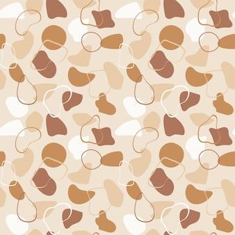 Padrão de vetor sem costura elegante na moda com formas abstratas orgânicas e linhas em tons pastel de nude. bege neutro, fundo boho de terracota. padrão moderno laranja queimado. ilustração vetorial