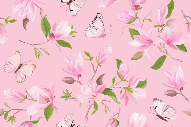 Padrão de vetor sem costura floral de magnólia em aquarela. borboletas, flores de magnólia de verão, folhas, fundo de flor. papel de parede japonês de casamento primavera, para tecido, estampas, convite, pano de fundo, capa