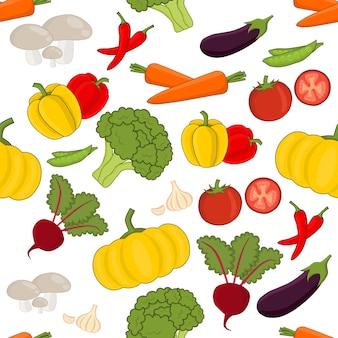 Padrão de vetor sem costura legumes definido no estilo cartoon