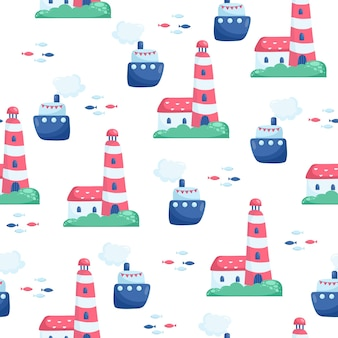 Padrão de vetor sem costura náutico com navio. ilustração dos desenhos animados brilhantes para design de cartão infantil, tecido e papel de parede.