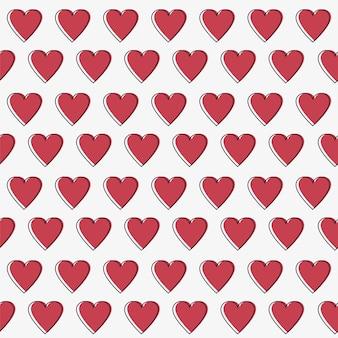 Padrão de vetor sem emenda de corações simples. plano de fundo dia dos namorados. textura caótica infinita de design plano feito de pequenas silhuetas de coração