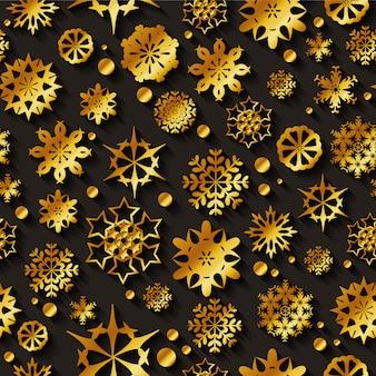 Padrão de vetor sem emenda de flocos de neve de ouro