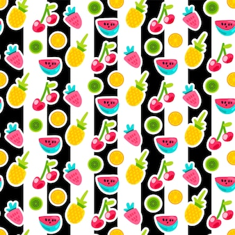 Padrão de vetor sem emenda de frutas dos desenhos animados. adesivos de laranja, abacaxi, morango em fundo listrado