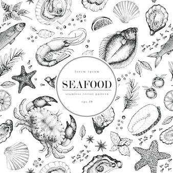 Padrão de vetor sem emenda de frutos do mar