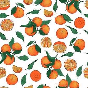 Padrão de vetor sem emenda de tangerinas inteiras e descascadas