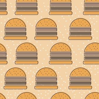 Padrão de vetor sem emenda do ícone de linha hambúrguer. contorno de fast food, fundo colorido e ajustável