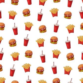 Padrão de vetor sobre o tema de fast-food: batatas fritas, bebida, hambúrguer.