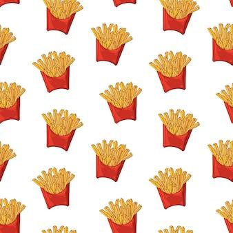 Padrão de vetor sobre o tema de fast-food: caixa de batatas fritas.