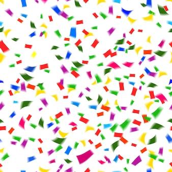 Padrão de vetor vibrante e sem costura de confetes de papel caindo nas cores do arco-íris ou espectro em uma festa festiva ou conceito de feriado, como ano novo, natal, casamento ou aniversário