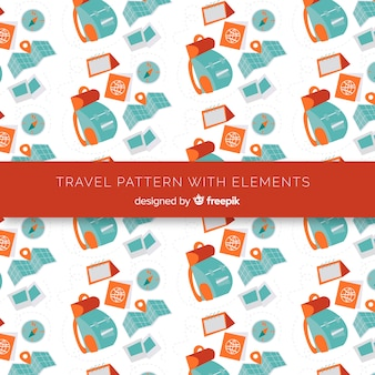 Padrão de viagem com elementos e linhas de traço