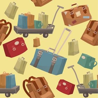 Padrão de viagem sem costura com bagagem