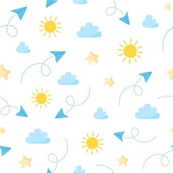 Padrão de viagens sem costura com nuvens e sol