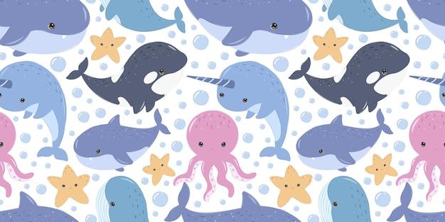 Padrão de vida marinha bonito para papel de parede de tecido infantil e muito mais