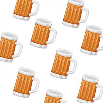 Padrão de vidro com ícone de cerveja