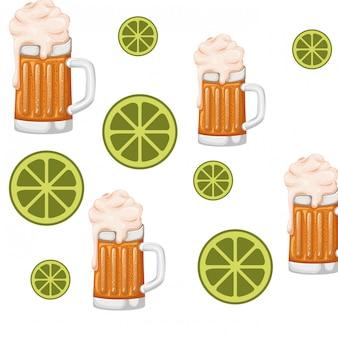 Padrão de vidro com ícone isolado de cerveja