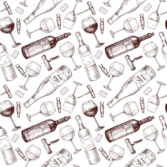 Padrão de vinho, esboços, padrão sem emenda desenhada de mão.