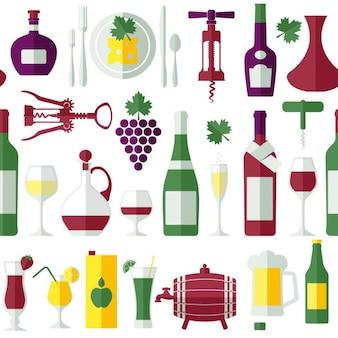 Padrão de vinho plana seamless