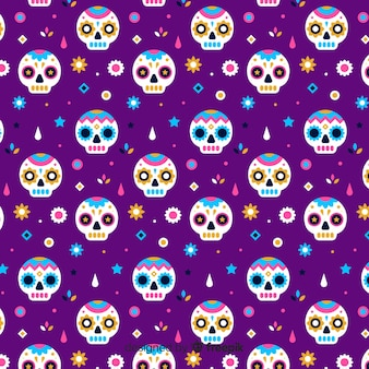 Padrão de violeta liso día de muertos