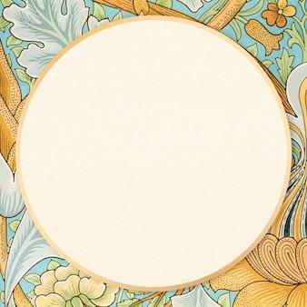 Padrão de william morris com borda de vetor de moldura ornamental antiga
