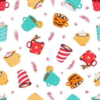 Padrão de xícara de café de natal
