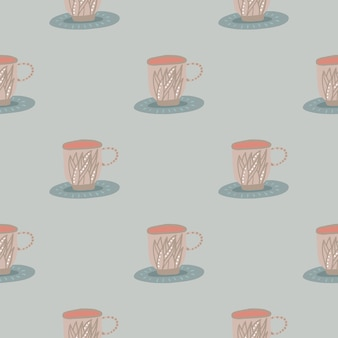 Padrão de xícara de chá sem costura suave pastel.