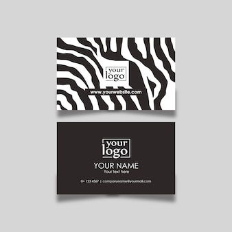 Padrão de zebra preto e branco de design de cartão de visita