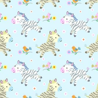 Padrão de zebras e pássaros bonitos.