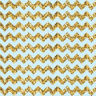 Padrão de ziguezague aqua com efeito de ouro reluzente