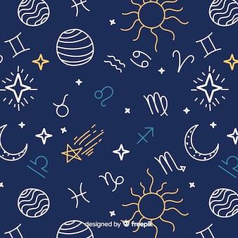 Padrão de zodíaco colorido de mão desenhada